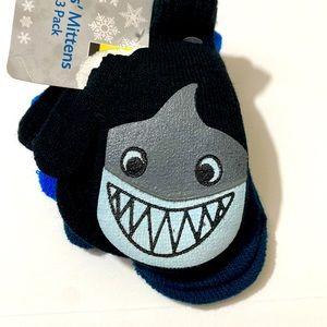 Toddler Boys 3 PK Shark Themed Mittens Blue/Black
